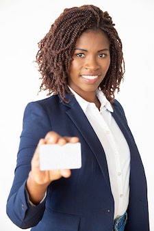Happy successful bank manager advertising credit card