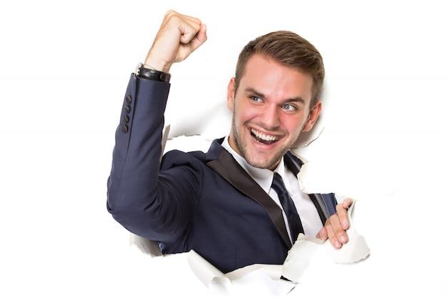 행복 한 성공적인 사업가