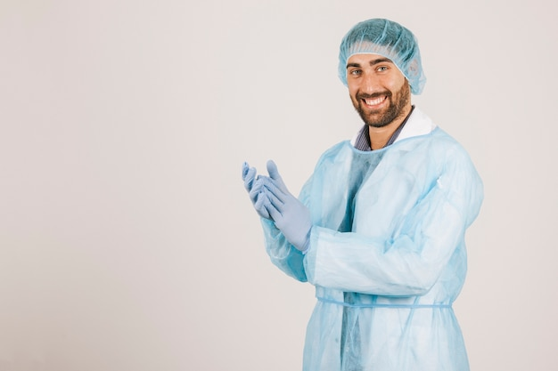 Happy surgeon clapping