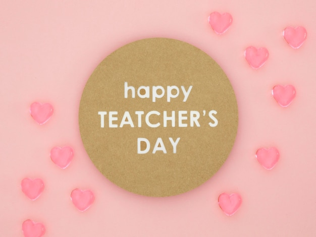 С днем учителя розовые сердечки