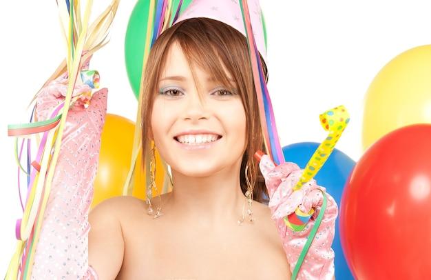 풍선 행복 한 십 대 파티 소녀