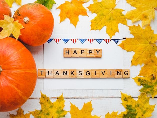 С днем благодарения день. крупный план, вид сверху