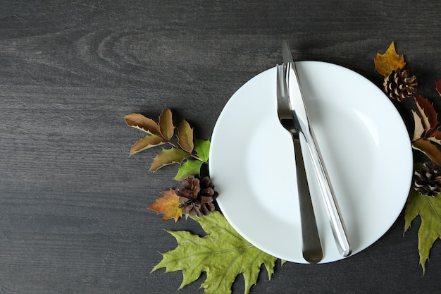Happy thanksgiving day composition on dark wooden background