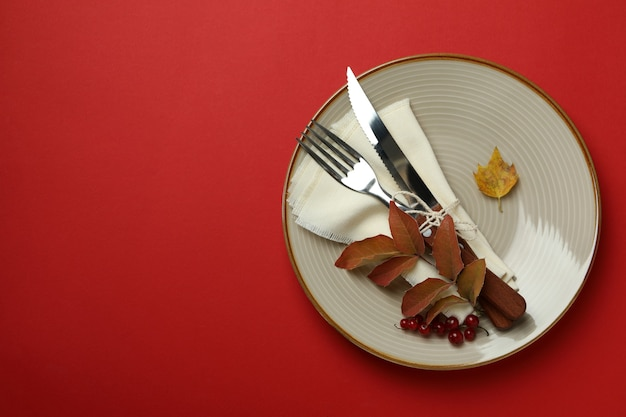 Happy thanksgiving day composition on red background