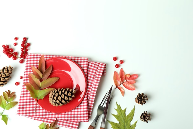 Happy thanksgiving day composition on white wooden table