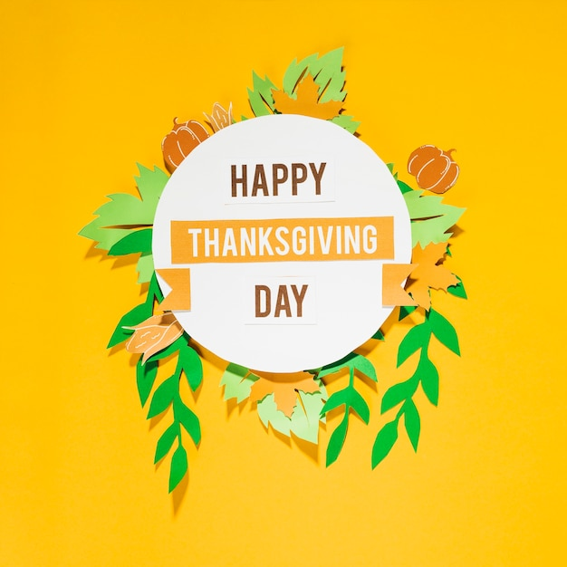 Happy thanksgiving day lettering on yellow background