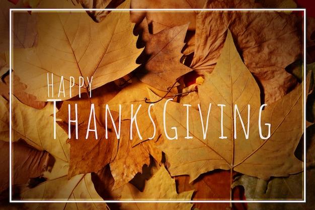 С днем благодарения с кленовым листом и текстом