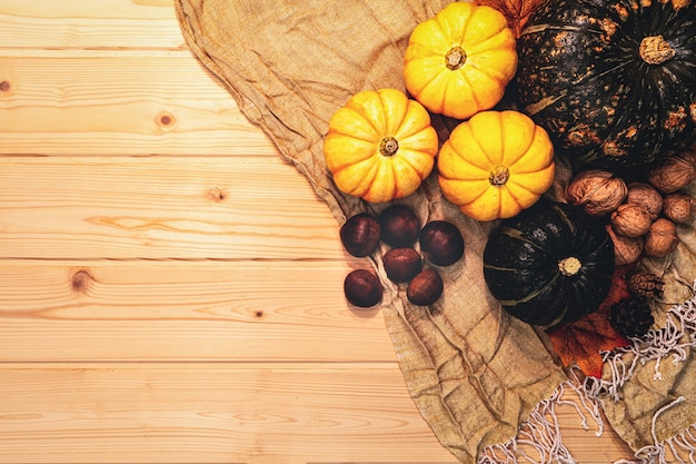 Happy thanksgiving day with pumpkin and nut on wooden