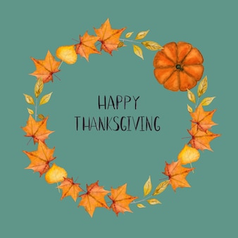 Happy thanksgiving. inscription on the background of a wreath. beautiful greeting card. congratulations for family, relatives, friends and colleagues
