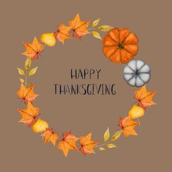 幸せな感謝祭。花輪の背景に刻まれた碑文