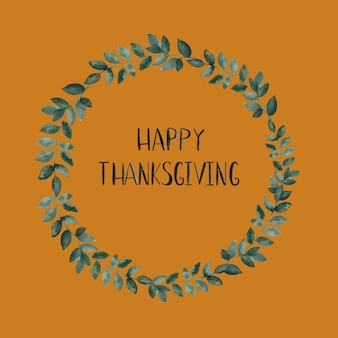 Happy thanksgiving wreath card