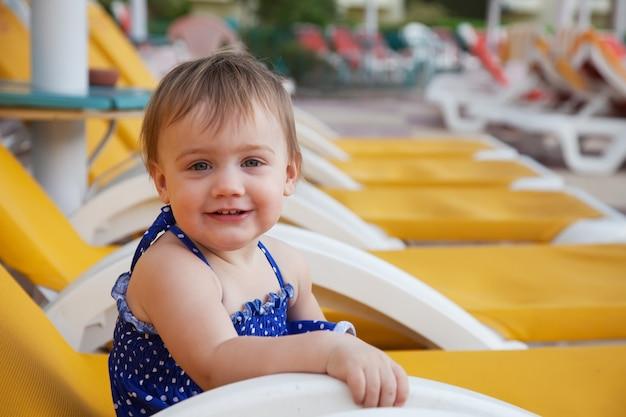 Happy toddler at resort