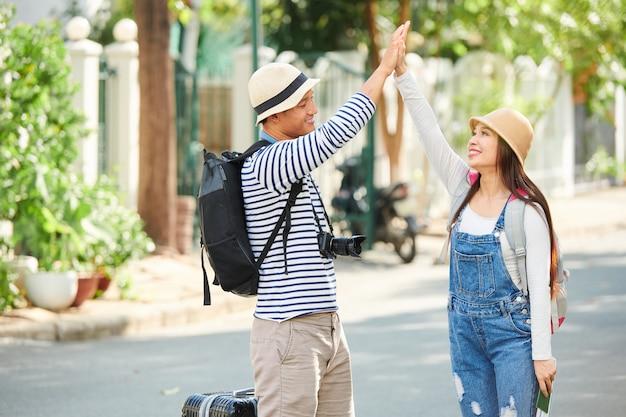 幸せな観光客