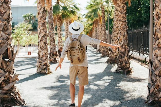 Happy traveler on the way