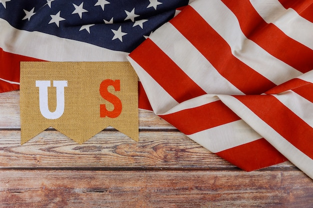 幸せな米国。アメリカの旗の労働者の日記念日の愛国心が強い連邦休日