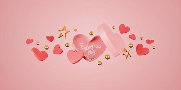 С днем святого валентина баннер. сердце, подарок и коробка на розовом фоне. место для текста. 3d иллюстрации