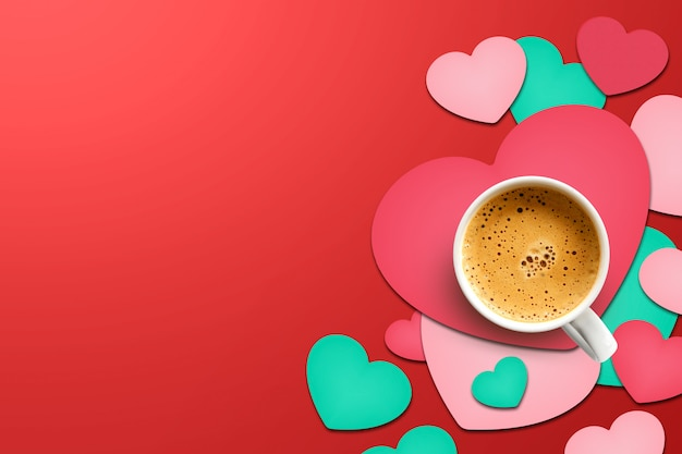 Happy valentine's day concept. cup of coffee on heart shaped paper