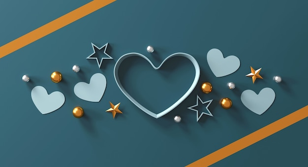 Happy valentine's day concept. heart shape gift box on green background.