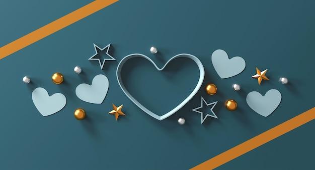 Концепция дня святого валентина. подарочная коробка в форме сердца на зеленом фоне.