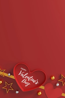 Концепция дня святого валентина. подарочная коробка в форме сердца на красном фоне. место для текста. плоская планировка. вид сверху. 3d иллюстрации