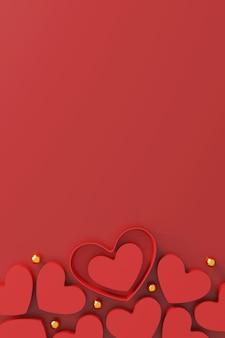 Концепция дня святого валентина. подарочная коробка в форме сердца на красном фоне.