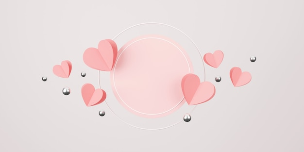 해피 발렌타인 데이 개념. 기하학적 형태의 최소한의 장면. 실린더 연단 디스플레이