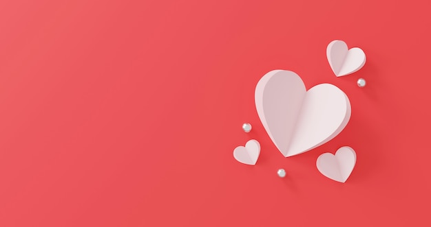Концепция дня святого валентина. бумажное сердце и серебряный шар на розовом фоне.
