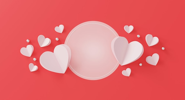 해피 발렌타인 데이 개념. 종이 마음과 분홍색 바탕에 실버 볼.