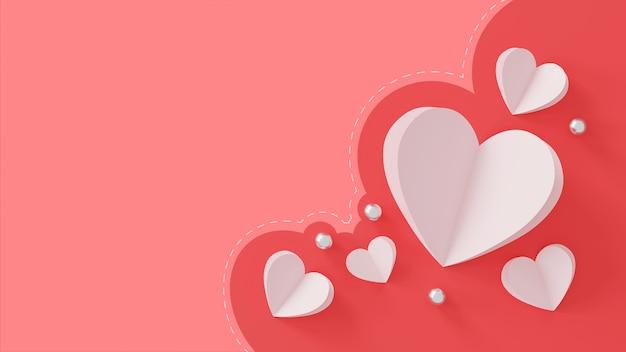 해피 발렌타인 데이 개념. 핑크에 종이 마음과 실버 볼.