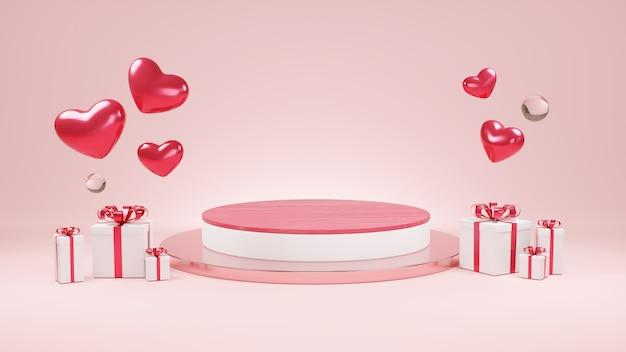幸せなバレンタインデーの装飾ギフトボックスサプライズ赤と白のミニマリストモックアップ表彰台