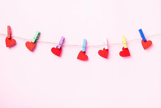 해피 발렌타인 데이 장식 매달려 나무 클립