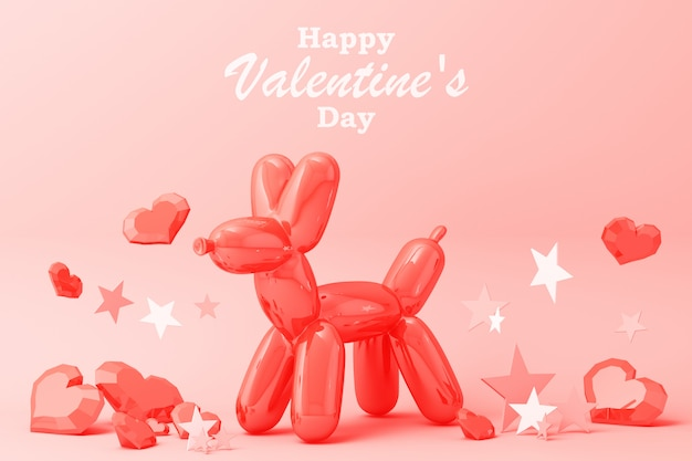 Happy valentine's day greeting card with balloon dog, hearts and stars decoration 3d rendering