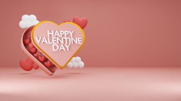 파란색 배경에 구름과 하트 선물 상자에 하트 해피 발렌타인의 날. 3d 렌더링