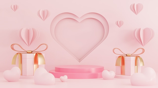 Happy valentine's day paper style with podium for product presentation and hearts 3d objects on pink background.