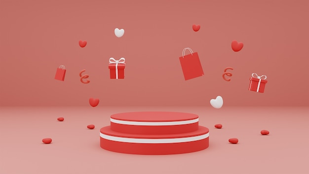 Happy valentine's day for product presentation podium with gift box and heart on red background. 3d rendering