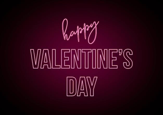 해피 발렌타인 데이, 핑크 네온 불빛이있는 텍스트. 창의적인 요소, 마음으로 그래픽.