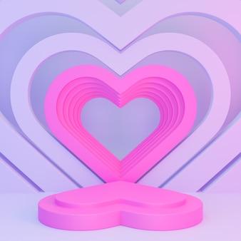 製品のプレゼンテーションと3d構成のためのピンクの表彰台のハートの形で幸せなバレンタインデー。