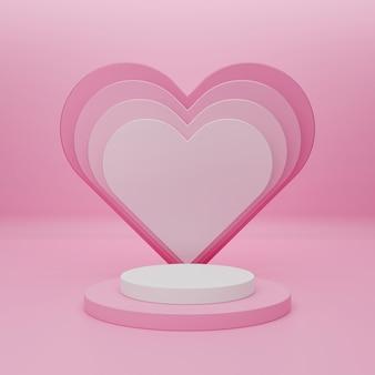 製品のプレゼンテーションと3dレンダリングのための表彰台で幸せなバレンタインデー。