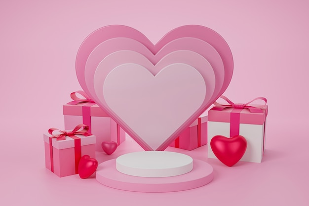 Happy valentine's day with podium for product presentation and 3d rendering.