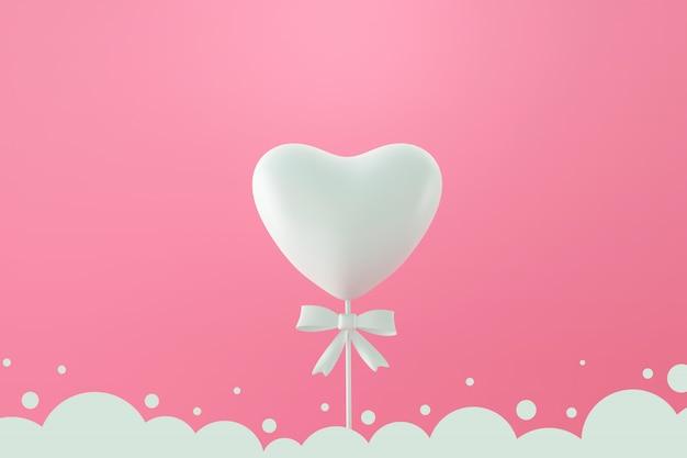 사랑 사탕과 하얀 흐린 프레임 해피 발렌타인 데이 배경.