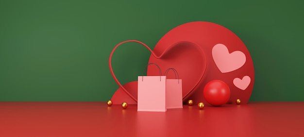 Happy valentines day banne pink shopping bag on red and green background