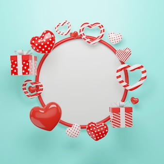 Happy valentines day circle frame with hearts shape elements and decorations