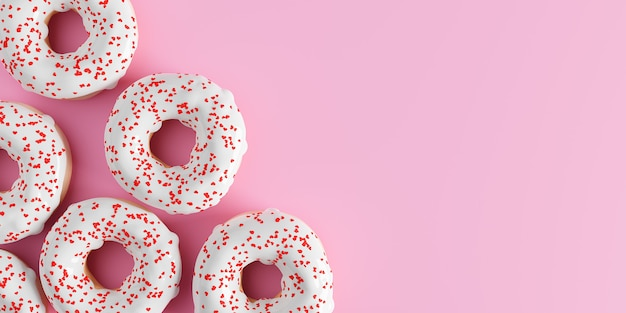 Happy valentines day concept, donuts with hearts banner