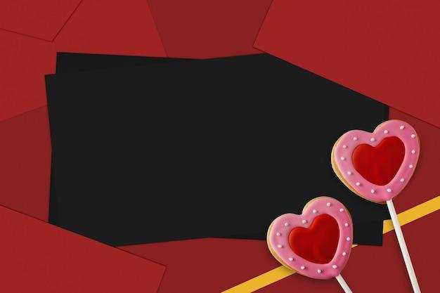С днем святого валентина печенье в форме сердца на красном фоне