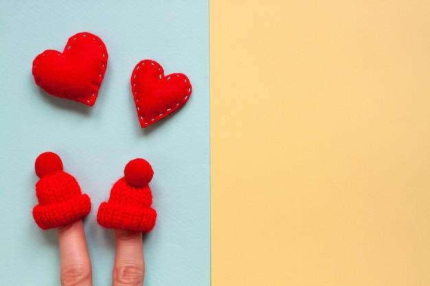 영원히 파란색과 노란색 ogether에 해피 발렌타인 데이 창조적 인 개념