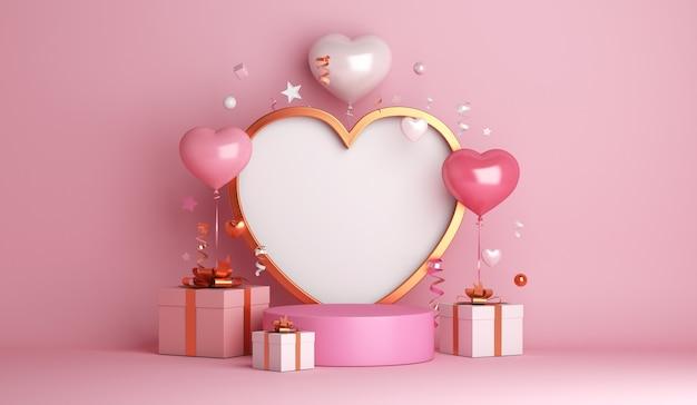 幸せなバレンタインデーの装飾は、ハート型のバルーンで表彰台を表示します