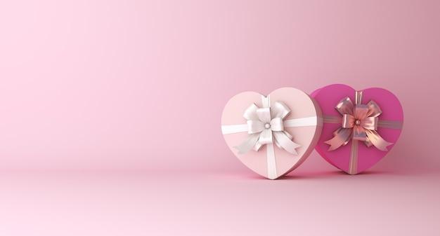 幸せなバレンタインデーの装飾は、ハート型のギフトボックスのコピースペースで表彰台を表示します