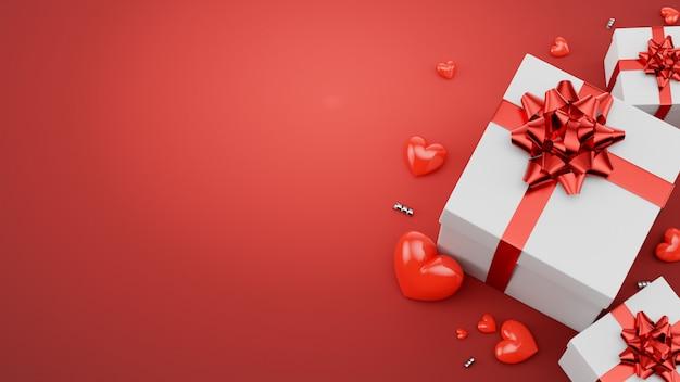 Hearts.3dレンダリングと幸せなバレンタインの日グリーティングカードデザインとギフトボックス