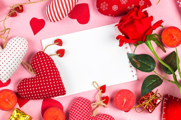 Happy valentines day and heart. card with happy valentines day and heart on wooden background