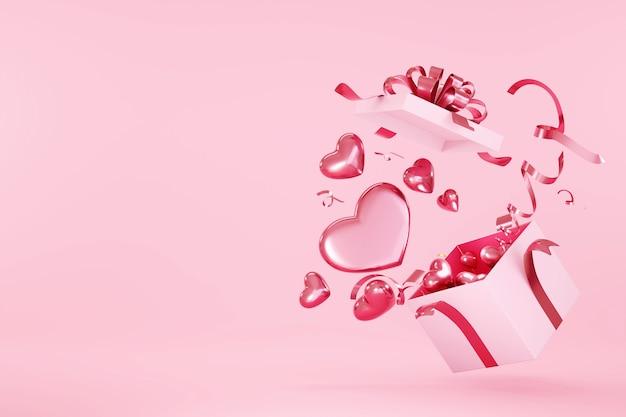 해피 발렌타인 심장 모양의 장식 핑크 받침대 배경에 선물 상자를 여는 깜짝.